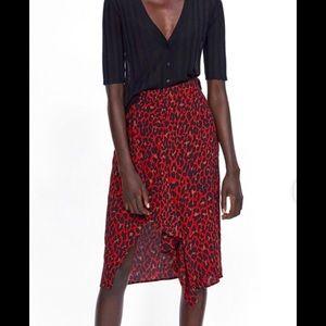 Zara Ruffled Animal Print Skirt